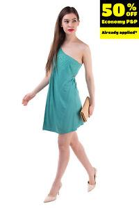 MET MIAMI COCKTAIL Jersey One Shoulder Dress Size M Rhinestones Gathered Wrap