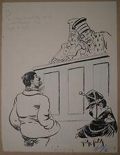 Dessin Ancien Scène Tribunal Juge Police Illustrateur TEDDY GEORGE-EDWARD 1900
