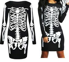Skelett Kleid Damen Halloween Knochen Bedruckt Stretch Bodycon Kostüm Kostüm