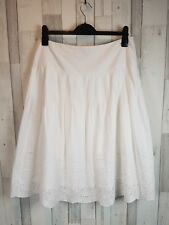 PHASE EIGHT White Summer Holiday Casual Party 100% Cotton Skirt Size 14