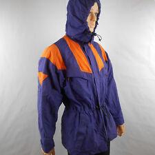 Adidas Windbreaker Rain Jacket Removable Hood Purple Color Block Orange M Medium