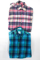 Brooks Brothers Womens Button Down Shirt Blue Pink Plaid Size Medium Lot 2