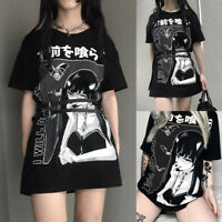 Women Summer Tops O-neck Gothic Short Sleeve Loose Long T-shirt Blouse Tee Dress