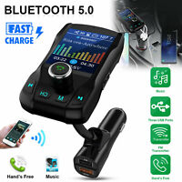 1.8 inch FM Transmitter Wireless Car Bluetooth 5.0 MP3 Audio Adapter USB Charger