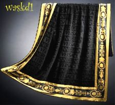 VERSACE black Signature terry Gold BAROCCO border BEACH blanket Towel NWT Authen