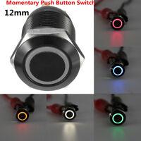Black 12v 4 Pin 12mm Led Light Metal Push Button Momentary Switch Waterproof