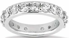 2.74 ct Round Diamond Ring 14k White Gold Eternity Band Size 6.25 0.15 ct each