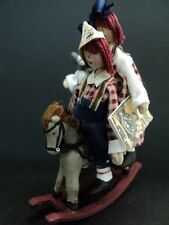 DOLLHOUSE  HAND MADE DOLL/ RAGGEDY ANN & ANDY ON ROCKING HORSE