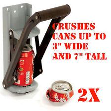 (2) 16oz CAN CRUSHER Aluminum Can Crusher Bottle Opener Wall Mount 2n1 EZ Crush