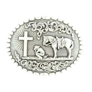 37374 Nocona Men's Cowboy Prayer Oval Belt Buckle
