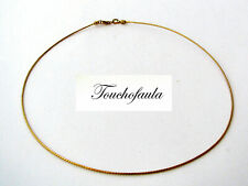 14K SOLID YELLOW GOLD ROUND OMEGA COLLAR NECKLACE 16 INCHES SCREW ABLE END.