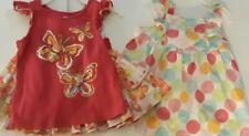 LOT Toddler Floral Glitter Sundress & 2 Pc Skirt Shirt Spring Summer Bow Accents