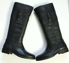 POLO RALPH LAUREN WOMEN THEORA BLK WASHED VACHETTA LEATHER BOOT EUR 37.5B US 7B