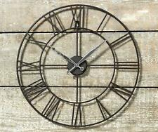 Large Outdoor Garden Wall Clock Open Face Metal Big Roman Numerals Indoor Black