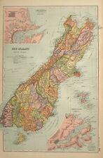 1908 MAP NEW ZEALAND SOUTH ISLAND CHRISTCHURCH CHATHAM ISLANDS DUNEDIN STEWART
