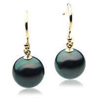 Pacific Pearls® 11mm Genuine Tahitian Black Pearl Drop Earrings Friendship Gifts