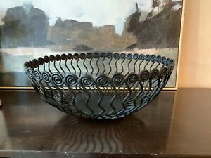 St John Collection Black Decorative Metal Zig Zag Abstract Large Round Bowl 16""