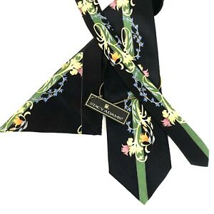 Stacy Adams Mens Tie Hanky Set 100% Silk Hand Made Black Deco Floral New