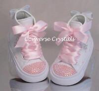 Girls Mono White Custom Crystal *Bling* Converse Infant Sizes 2 3 4 5 6 7 8 9 10