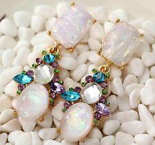 Betsey Johnson White Faux Opal & Multi Color Crystal & Resin Long Stud Earrings
