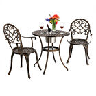 3pcs Outdoor Garden Cast Aluminum Patio Bistro Patio Furniture Table Chair Set