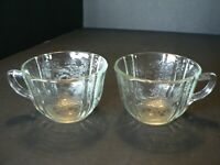 DEPRESSION GLASS TEA CUPS, SET OF 2