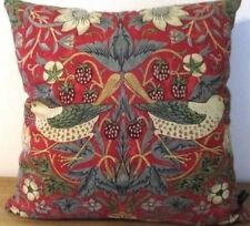 Sanderson William Morris Strawberry Thief Red & Teal Blue Velvet Cushion Cover
