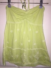 USED ABERCROMBIE & FITCH SMOCKED SHIRT STRAPLESS JUNIORS SZ SMALL S GREEN