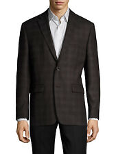 $795 VINCE CAMUTO Men BLACK PLAID SLIM SPORT COAT SUIT WOOL BLAZER JACKET 38 R