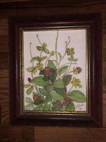 Original Mid Century Miniature Strawberries Acrylic Painting By Mary Pollock