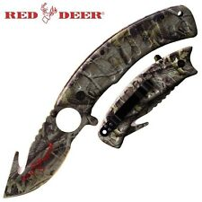 Camo Hunting Gut Hook & Skinner Pocket Knife Assisted Opening