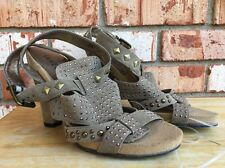 Van Eli Womens Sz 6M Leather Strappy Sandals Heels Studded Tan Suede Pumps Shoes