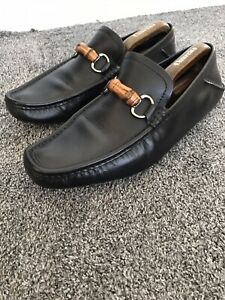 Gucci Mens Shoes Black Leather Bamboo Horsebit Loafers UK 9.5 G Drivers 158204