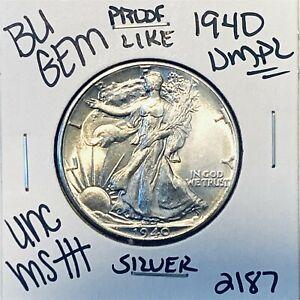 1940 BU GEM LIBERTY WALKING SILVER HALF UNC MS+++ U.S. MINT RARE COIN 2187