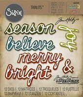 Sizzix Thinlits Die Set 12Pk Tim Holtz Christmas Shadow Sentiments Phrases