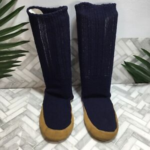 Lands' End Wool Slipper Socks Navy Blue Suede Sole Men's M/L 10.5-11.5 Warm USA