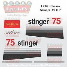 1978 Johnson 75 HP Stinger Outboard Repro 14Pc Vinyl Decals MagnaFlash CD