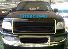 FOR 97 98 Ford F-150 4WD Expedition Black Billet Grille ComboInserts upperbumper
