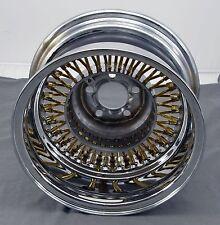 "Wicked Wires Reverse Gold 60 Spoke 13"" Chrome 5 x 100 Wheel Rim - NEW"