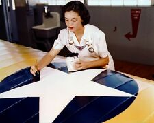 New 8x10 World War II Photo: Painting Airplanes for War Effort at Naval Air Base