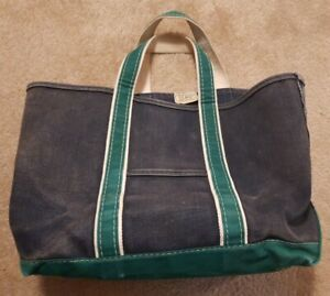 Vintage LL Bean Boat And Tote Canvas Bag Color is Green and Navy Blue - 1980's