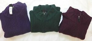 JOS. A. BANK Men's 1/4 Zip Cable Lambswool Mock Neck Sweater $150, Various, NWT