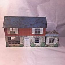 Vtg Marx Tin Litho 2 Story Colonial Doll House w 2nd Floor Patio/Deck **TLC**