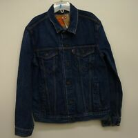 Levis Size Large Mens 72334 0297 Dark Blue Denim Classic Trucker Jean Jacket