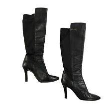 Prada Milano Knee High Black Leather Boots