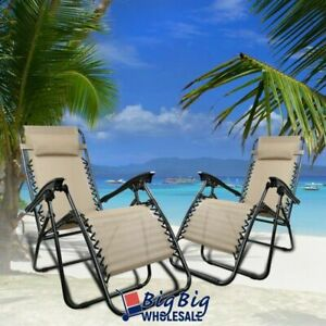 2 Zero Gravity Chairs Folding Patio Lounge Beach Outdoor Recliner Tan Texteline