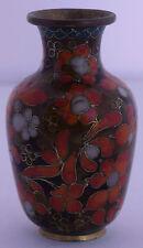 Vintage Chinese Enamel Cloisonné Vase Flowers Floral Colorful Red Brass
