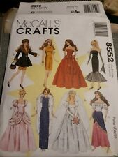 """McCalls 8552 11.5"""" Fashion Doll Clothes Pattern Evening Dresses Wedding Gown"""