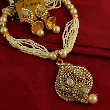 Damen Vergoldet Halskette Ohrringe Set Zirkonia Perle Ohrhänger Schmuck