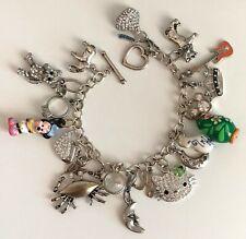 Silver Tone Metal 19 Charm Fashion Bracelet Hello Kitty, Disney, and More (FCB4)